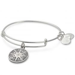Alex and Ani Healing Love Color Infusion Charm Bangle - Shiny Silver Finish