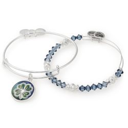 Alex and Ani March Limited Edition Four Leaf Clover Art Infusion Set of Two Bangle Bracelets - Shiny Silver Finish