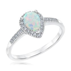 Created Opal and Diamond Pear Ring 1/10ctw