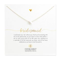 Dogeared Bridesmaid Small Pearl Necklace, Gold Plated - 16