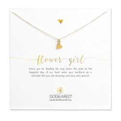 Dogeared Flower Girl Sideways Heart Necklace, Gold Plated