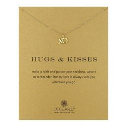 Dogeared Hugs & Kisses XO Necklace, Gold Plated