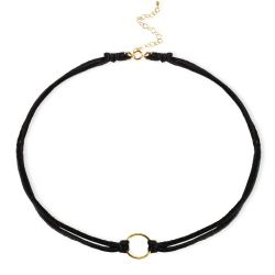 Dogeared Karma Ring on Black Leather Choker Necklace, Gold Plated