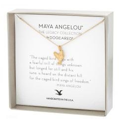 Dogeared Maya Angelou The Caged Bird Sings Necklace, Gold Plated