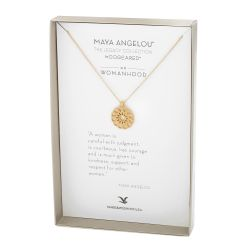 Dogeared Maya Angelou Womanhood Medallion Necklace, Gold Plated