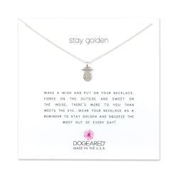 Dogeared Stay Golden Open Pineapple Necklace, Sterling Silver