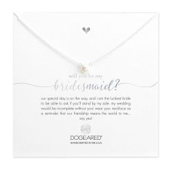 Dogeared Will You Be My Bridesmaid Small Pearl Necklace, Sterling Silver