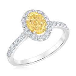 Exclusive REEDS ECONIC Lab Grown Fancy Yellow Oval Diamond and Lab Grown Round Diamond Ring 1 1/2ctw with IGI Grading Report