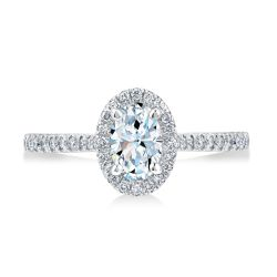 Exclusive REEDS Signature Oval Diamond J Color Halo White Gold Engagement Ring 1ctw