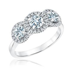 Exclusive REEDS Signature Round Diamond J Color Halo Three-Stone Ring 1 1/4ctw