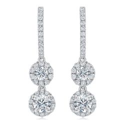 Forevermark Center of My Universe Halo Round Double-Drop Diamond Earrings 1 1/4ctw