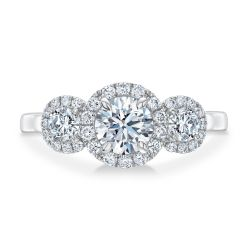 Forevermark Center of My Universe Round Three-Diamond Halo Ring 1 1/3ctw