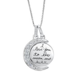 I Love You To The Moon Pendant 1/15ctw