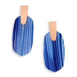 Kendra Scott Aragon Earrings in Navy Dusted Glass in Rose Gold Plated