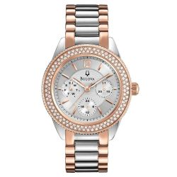 Ladies' Bulova Crystal Rose Two-Tone Watch 98N100