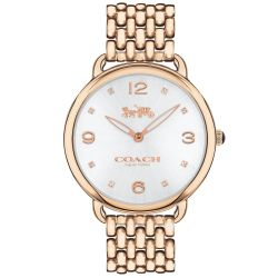 Ladies COACH Delancey Rose Gold-Tone Stainless Steel Bracelet Watch