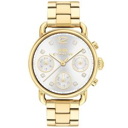 Ladies COACH Delancey Sport Chronograph Yellow Gold-Tone Stainless Steel Watch 14502943