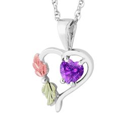 Landstrom's Black Hills Gold Sterling Silver Synthetic Alexandrite Heart Pendant
