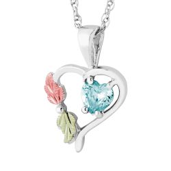 Landstrom's Black Hills Gold Sterling Silver Synthetic Aquamarine Heart Pendant