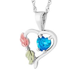 Landstrom's Black Hills Gold Sterling Silver Synthetic Blue Zircon Heart Pendant
