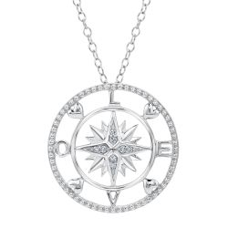 Love Diamond Compass Pendant 1/20ctw