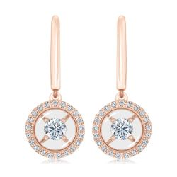 MAGNIFICENCE Diamond Halo Drop Rose Gold Earrings 1/3ctw