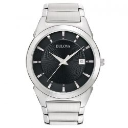 Mens Bulova Classic Black Dial Stainless Steel Watch 96B149