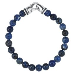 Men's Sodalite Beaded Bracelet with Sterling Silver Clasp