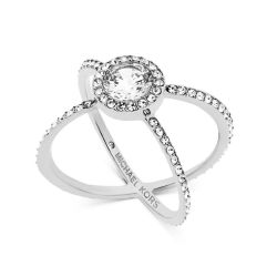Michael Kors Crystal Silver-Tone Crisscross Ring - Size 7