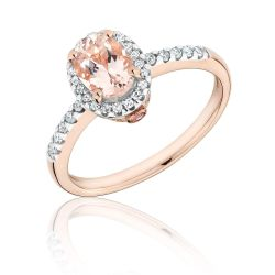 Oval Morganite and Diamond Ring 1/6ctw