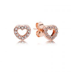 PANDORA Rose Captured Hearts Earrings, Clear Cubic Zirconia