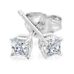 Princess Diamond Solitaire Stud Earrings 1/4ctw