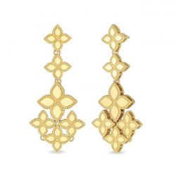 Roberto Coin Princess Flower Yellow Gold Chandelier Earrings