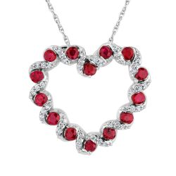 Ruby and Diamond Twist Heart Pendant 1/15ctw