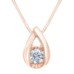 Sirena Diamond Solitaire Rose Gold Pendant 1/10ct