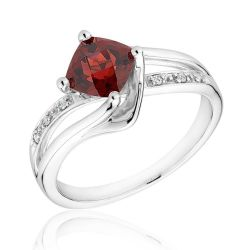 Sterling Silver Garnet and Diamond Ring