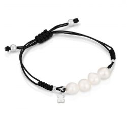 TOUS Bear Freshwater Cultured Pearl and Black Cord Bracelet