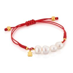 TOUS Bear Freshwater Cultured Pearl and Red Cord Bracelet