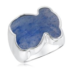TOUS Dumortierite Bear Sterling Silver Ring - Size 7