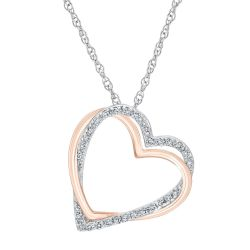 Two-Tone Diamond Heart Pendant