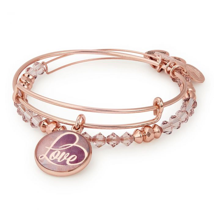 91998a3da2eba Alex and Ani May Limited Edition Love Art Infusion Set of Two Bangle  Bracelets - Shiny Rose Gold Finish