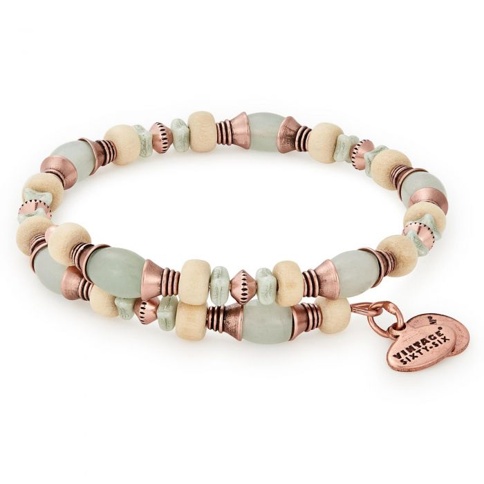 Alex And Ani Milkweed Grove Beaded Wrap Bracelet Rafaelian Rose Gold Finish