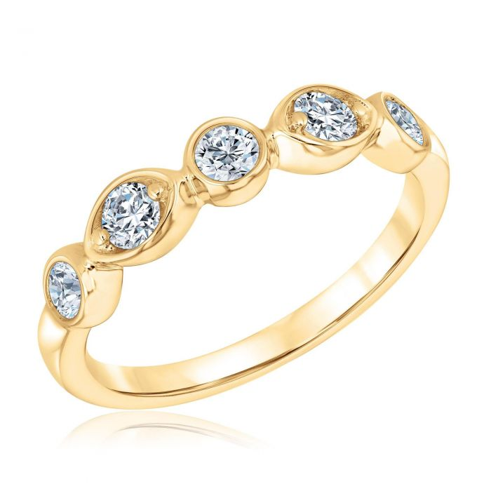 fa72a0ef54799 Forevermark Tribute Collection Yellow Gold Bezel Twist Stackable Ring 1/2ctw