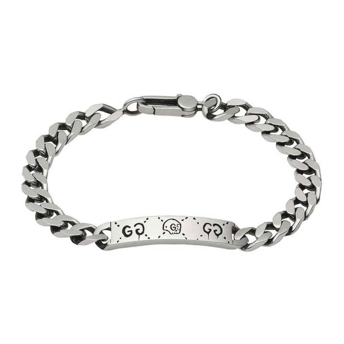 98a412b25484a Gucci Sterling Silver Ghost Motif ID Chain Bracelet