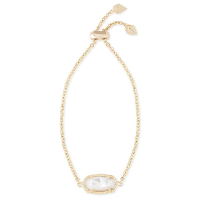 Kendra Scott Elaina Chain Bracelet in White Kyocera Opal and Rhodium Plated