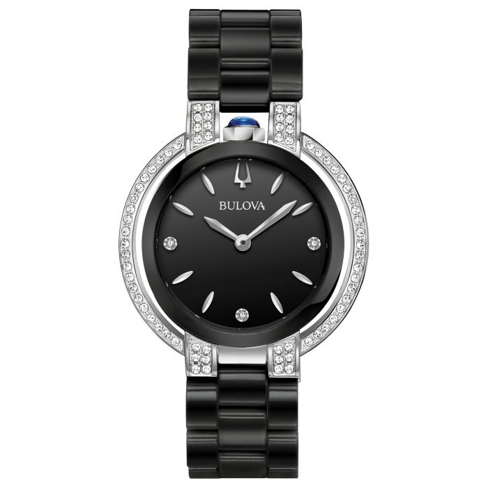 ab2330f2c Ladies' Bulova Rubaiyat Diamond Accent Black Ceramic Bracelet Watch ...
