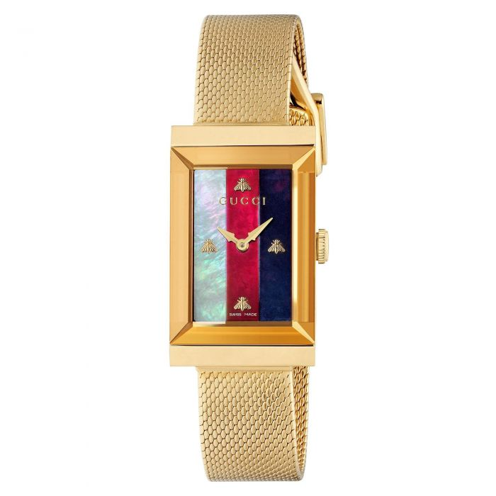 Ladies\u0027 Gucci G,Frame Gold,Tone Stainless Steel Rectangle Dial Watch  YA147410