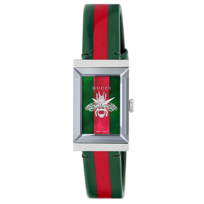 Ladies\u0027 Gucci G,Frame Green and Red Striped Leather Watch YA147408