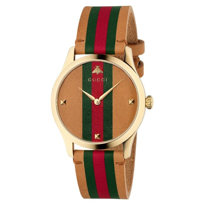 e6e474f98 Ladies' Gucci G-Timeless Brown, Red and Green Striped Leather Strap Watch  YA1264077 | REEDS Jewelers