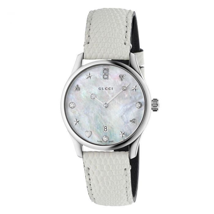 dfc939416f6 Ladies' Gucci G-Timeless Slim Diamond and Mother of Pearl Leather ...